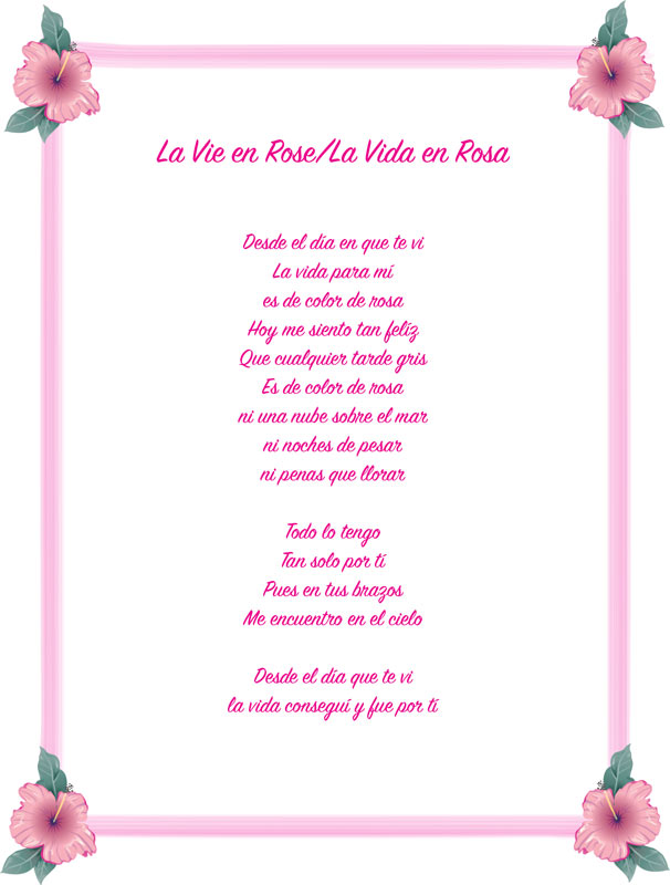 La vie en rose lyrics french and english